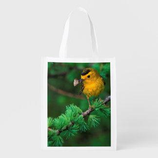 Wilson's Warbler Catches Moth - Birder's Bag Reusable Grocery Bags
