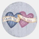 Wilting Quilter Classic Round Sticker