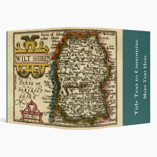 Wiltshire County Map, England 3 Ring Binder