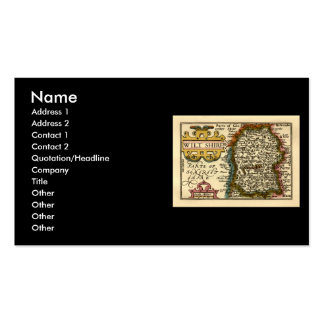 Wiltshire County Map, England Double-Sided Standard Business Cards (Pack Of 100)