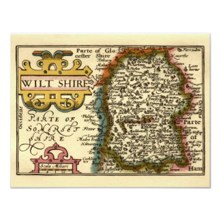 Wiltshire County Map, England Card