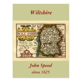 Wiltshire County Map England Post Cards