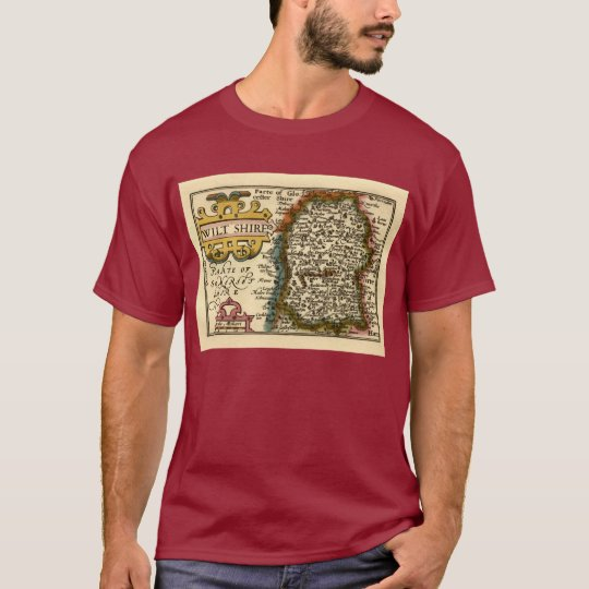 Wiltshire County Map, England T-Shirt
