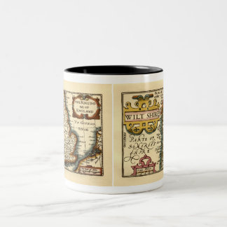 Wiltshire County Map, England Two-Tone Coffee Mug