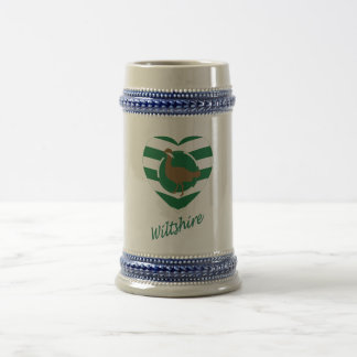 Wiltshire Flag Heart with Name Beer Stein