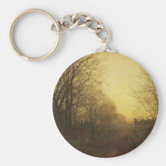Wimbledon Park, Autumn After Glow by John Atkinson Basic Round Button Keychain