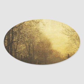 Wimbledon Park, Autumn After Glow by John Atkinson Oval Sticker