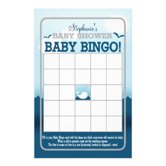 Wimsical Whale (blue) Baby Bingo Flyer
