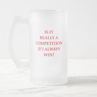 WIN FROSTED GLASS BEER MUG