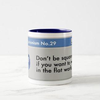 Win in the flat world! Two-Tone coffee mug