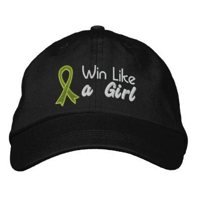 Win Like a Girl - Lymphoma Embroidered Baseball Caps