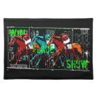 win place show horse racing cloth placemat