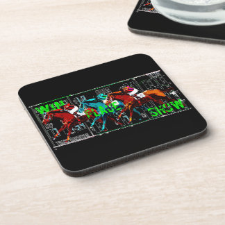 win place show horse racing drink coaster