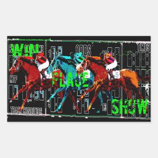 win place show horse racing rectangular sticker