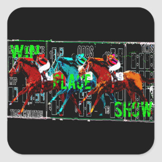 win place show horse racing square sticker