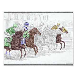 Win Place Show Race Horses 4.25x5.5 Paper Invitation Card