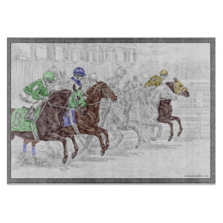 Win Place Show Race Horses Cutting Board