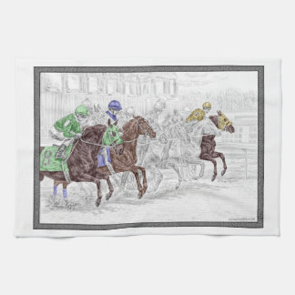 Win Place Show Race Horses Kitchen Towel