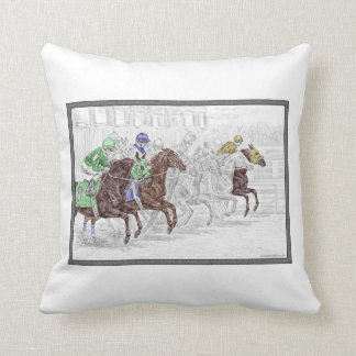 Win Place Show Race Horses Throw Pillows