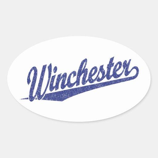 Winchester apenó el azul pegatina ovalada