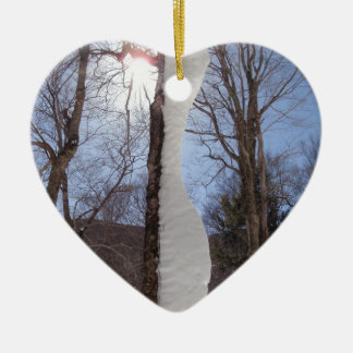 Wind and snow sculpted tree. ceramic ornament