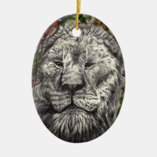 Wind Beneath My Wings Lion Butterflies Animal Art Ceramic Ornament