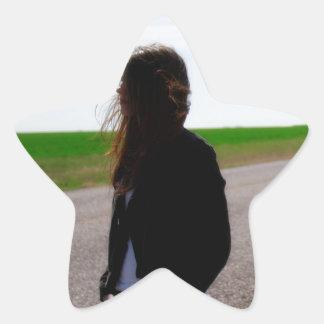 Wind Blown Girl Star Sticker