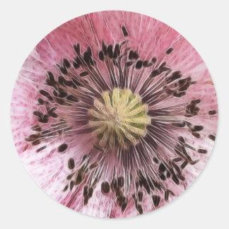 Wind Blown Poppy Classic Round Sticker