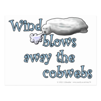 Wind blows away the cobwebs postcard