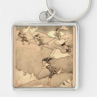 Wind Faeries Catching Wind Silver-Colored Square Keychain