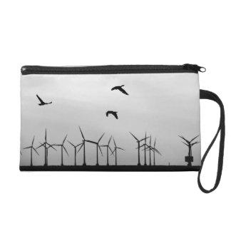 Wind farm and birds wristlet purse