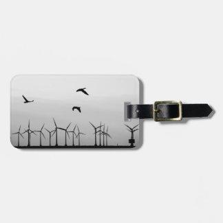 Wind farm and birds bag tag