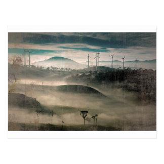 Wind farm landscape early morning postcard