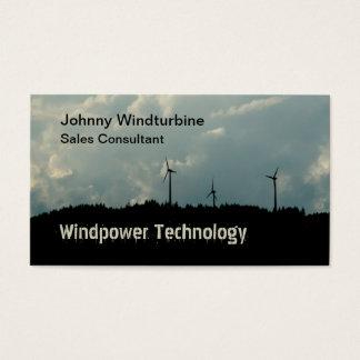 Wind farm on a hilltop silhouette business card