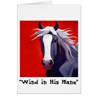 Wind in his Mane greeting card