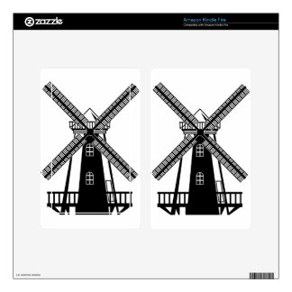 Wind Mill B/W Vector Decal For Kindle Fire