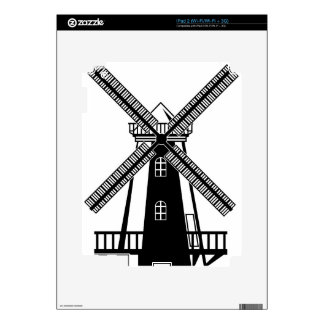 Wind Mill B/W Vector iPad 2 Decal