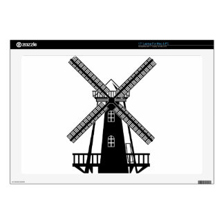 Wind Mill B/W Vector Laptop Decal