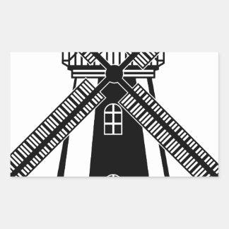 Wind Mill B/W Vector Rectangular Sticker