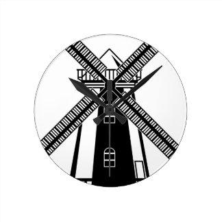 Wind Mill B/W Vector Round Clock