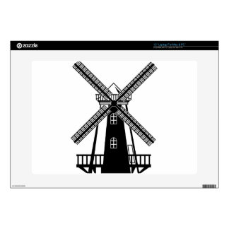 "Wind Mill B/W Vector Skin For 15"" Laptop"