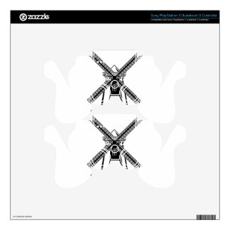 Wind Mill B/W Vector Skin For PS3 Controller