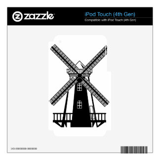 Wind Mill B/W Vector Skins For iPod Touch 4G