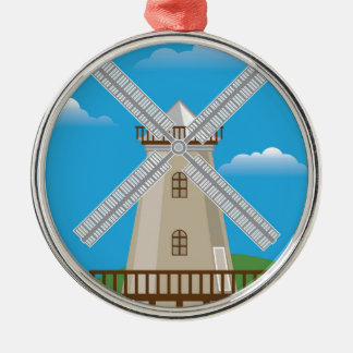 Wind Mill in Color Metal Ornament