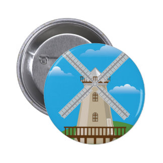 Wind Mill in Color Pinback Button
