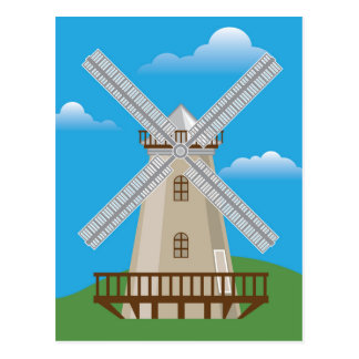 Wind Mill in Color Postcard