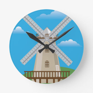 Wind Mill in Color Round Clock