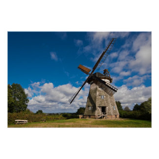 Wind mill with blue sky posters