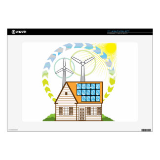 "Wind n Solar Small House Vector Eco Energy 15"" Laptop Decal"