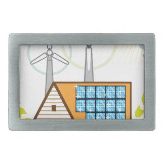 Wind n Solar Small House Vector Eco Energy Belt Buckle